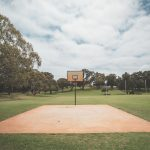 outdoor basketball court on grassy meadow in summer park