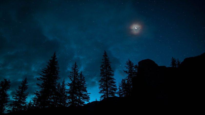 moonlight on a dark sky